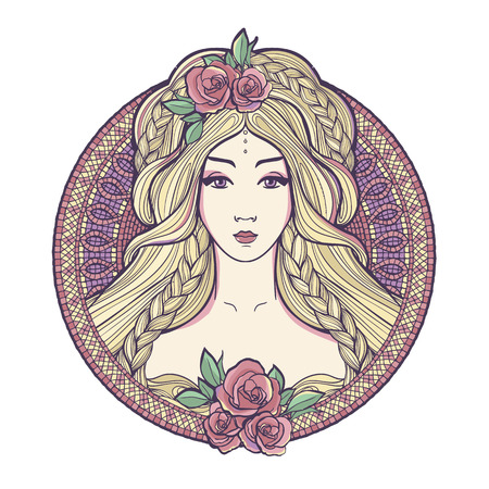 Art nouveau woman with beautuful long hair and roses. Illustration