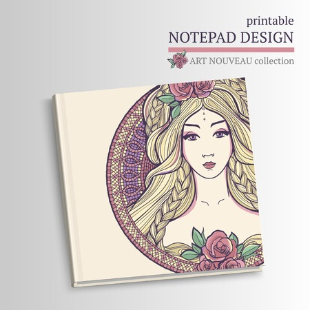 cover art: Printable vector notepad design with art nouveau woman and roses. Illustration