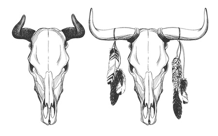 Cráneo Del Toro Con Plumas, La Serpiente Y El Cazador De Sueños ...