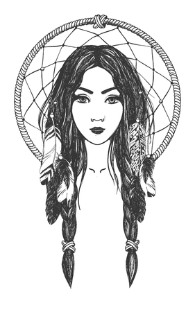 Woman with feathers and dreamcatcher. Native American Indian talisman. Vector hand drawn hipster illustration isolated on white background. Boho design, tattoo art, coloring book for adults. Stock Illustratie