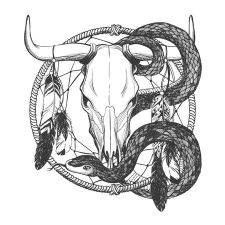 talisman: cráneo del toro con plumas, la serpiente y el cazador de sueños. talismán indio americano nativo. Vector mano dibujada inconformista ilustración aislado sobre fondo blanco. diseño de Boho, arte del tatuaje, libro para colorear.