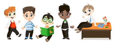 grade school age: Back to school illustration. Student boys isolated on white background. Funny cartoon character. Illustration