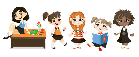 grade school age: Back to school illustration. Student girls isolated on white background. Funny cartoon character.