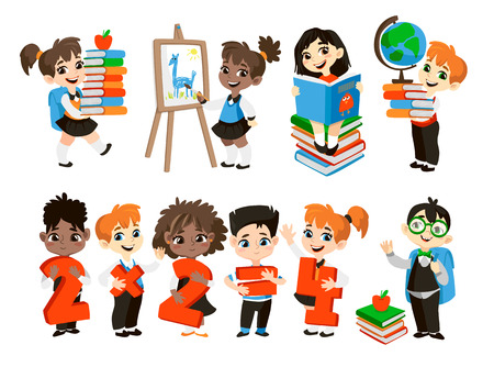 grade school age: Back to school illustration. Student boys and girls isolated on white background. Funny cartoon character.