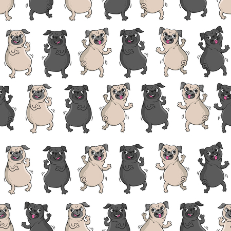 Dancing pugs. Seamless vector pattern with funny dogs.