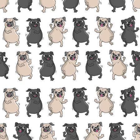 Pugs 춤. 재미 있은 강아지와 함께 완벽 한 벡터 패턴입니다. 스톡 콘텐츠 - 68607629