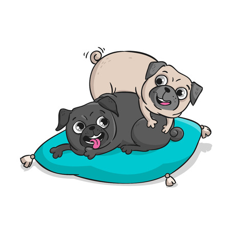 Cute pugs. Vector hand drawn cartoon illustration isolated on white background.