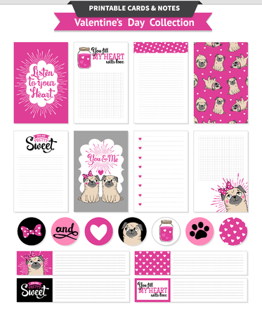 Valentines day printable set wih funny pugs.
