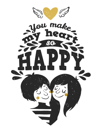 wite: Couple in love. Vector illustration.