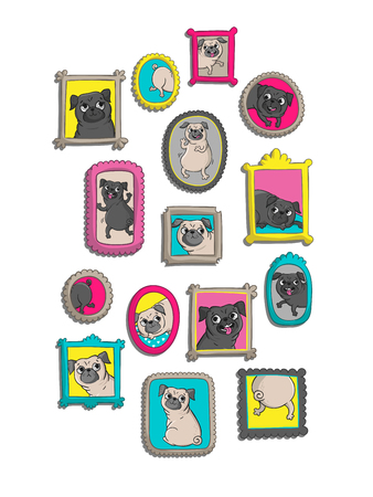 Frames With Portraits Of Pugs. Vector Illustrations With Funny ...