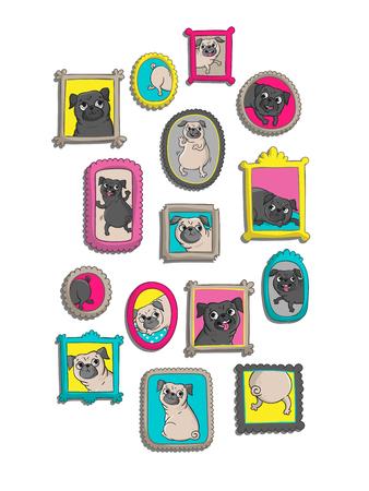 Rahmen mit Porträts von Möpse. Vektorillustrationen mit lustigen Hunden. Standard-Bild - 78501821