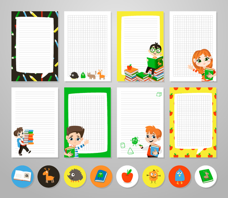 Back to school printable set with pupils.
