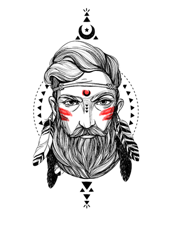 Portretmens met veren en etnische symbolen. Stock Illustratie