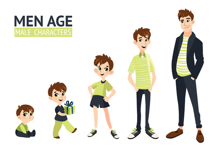 Conjunto de caracteres em estilo simples dos desenhos animados. Ilustración de vector