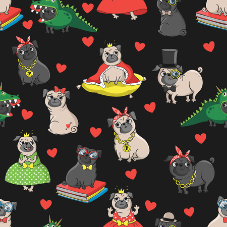 Seamless vector pattern with funny dogs.