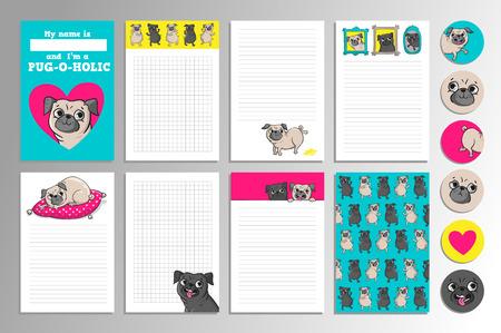귀여운 pugs와 인쇄용 세트.