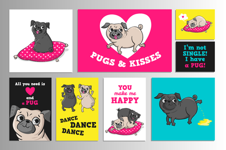 Printable set with cute pugs.