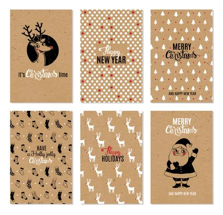 Christmas hand drawn vector printable cards.