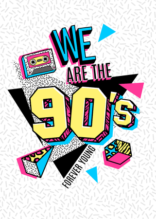 Poster in 80s-90s memphis style.