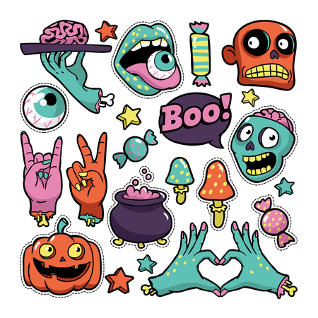 Halloween set of patches in cartoon comic style.
