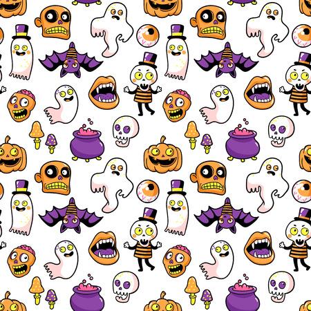 Halloween seamless pattern in cartoon comic style.