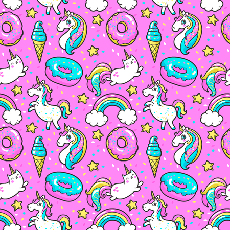 Seamless pattern in cartoon 80s-90s comic style. Vettoriali