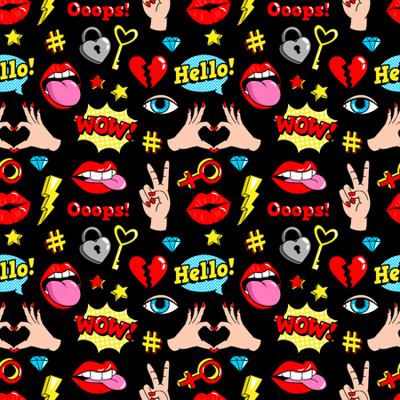 Seamless pattern with fashion patches.