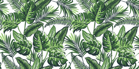 Tropical seamless pattern with palm leaves.