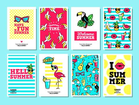Vector cards and banners in cartoon 80s-90s style. Фото со стока - 81072249