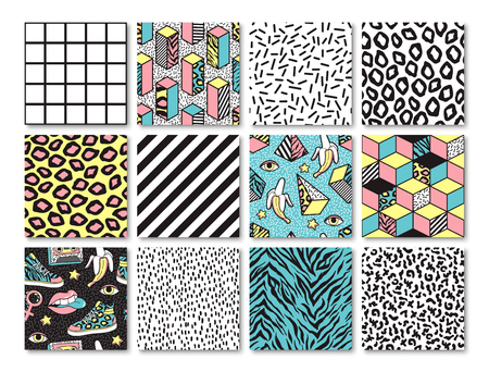 Set of seamless patterns in 80s-90s memphis style. Imagens - 81072769