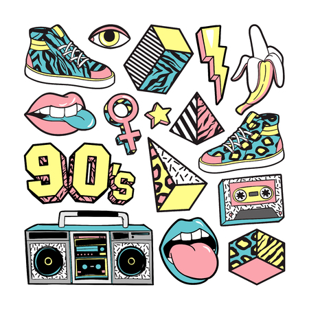 Fashion patches in in 80s-90s memphis style. Фото со стока - 81068650