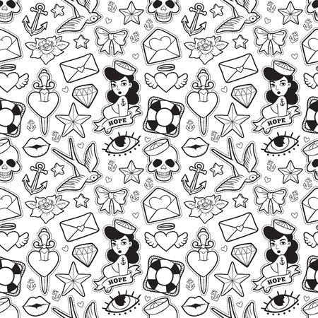 Old school seamless pattern in rockabilly style. Ilustrace