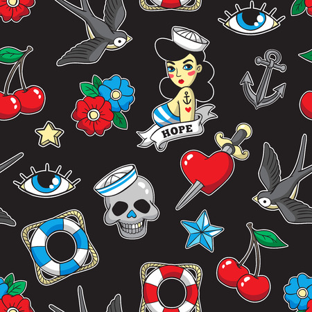 Old school seamless pattern in rockabilly style. Çizim