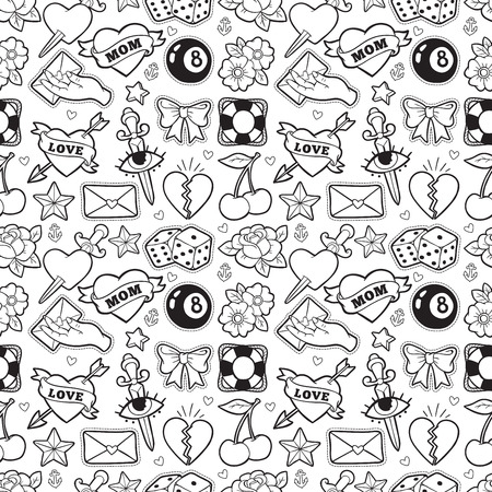Old school seamless pattern in rockabilly style.  イラスト・ベクター素材