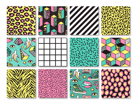 Set of seamless patterns in 80s-90s memphis style.