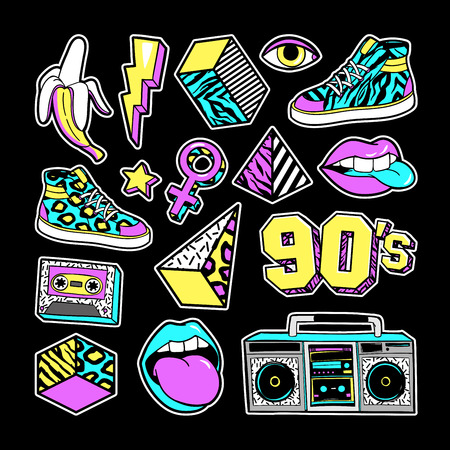 Fashion patches in in 80s-90s memphis style.