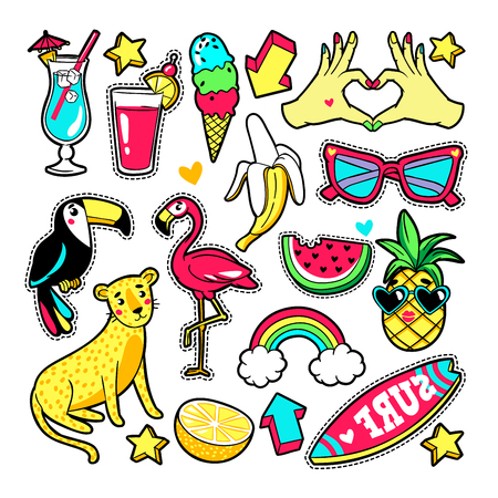 Fashion patches in cartoon 80s-90s comic style.