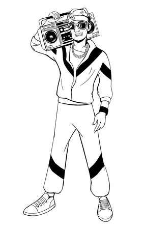 grabadora: Man in cartoon 80s-90s pop-art comic style. Vectores