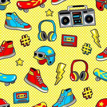 Seamless pattern in cartoon 80s-90s comic style. Иллюстрация