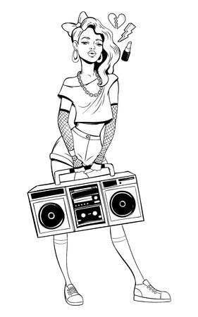 Woman in cartoon 80s-90s pop-art comic style. Illustration