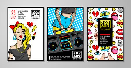 Vectorkaarten en banners in de jaren 80s-90s pop-art comic-stijl. Stockfoto