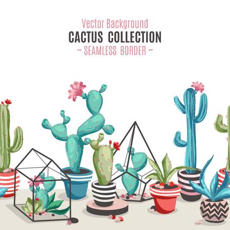 Cacti flower seamless border.