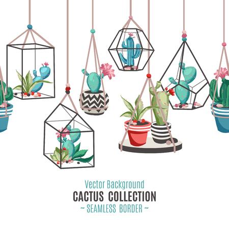 Cacti flower seamless border. Vector Illustration