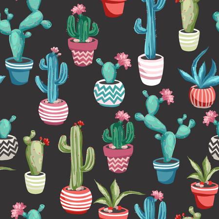 Colorido Cactus patrón transparente de flores. Foto de archivo - 81605665