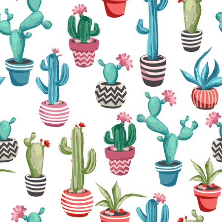 Colorful Cacti flower seamless pattern. Çizim