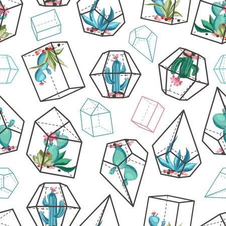 サボテンの花のシームレスなパターン。  イラスト・ベクター素材