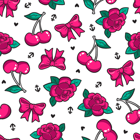 Old school seamless pattern in rockabilly style. Иллюстрация