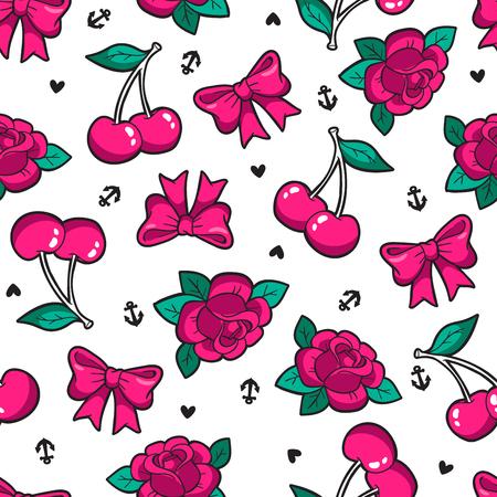 Old school seamless pattern in rockabilly style. Stock Illustratie