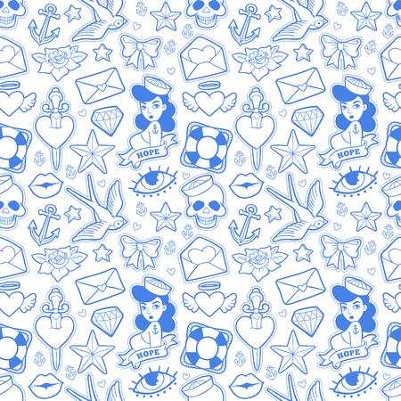 Old school seamless pattern in rockabilly style. Иллюстрация