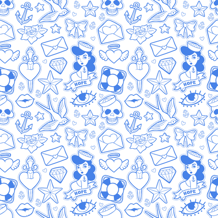 Old school seamless pattern in rockabilly style. Illustration